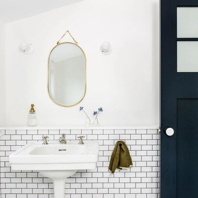 Alabax Small Sconce In 2021 Attic Bathroom Round Mirror Bathroom Bathroom Prepping jadeite bathroom for holiday