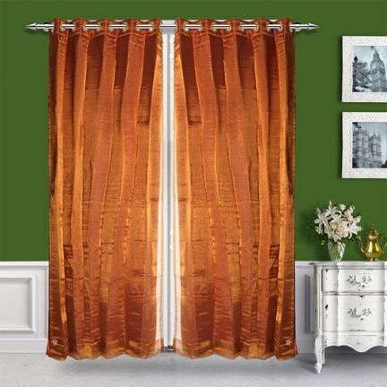 Just Linen 2 in 1 Poly Dupion Brown Eyelet Door Curtain - Passionate about classy home accessories