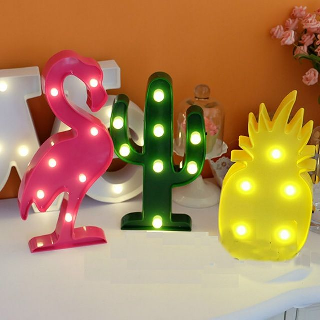 Cute Flamingo Night Light Plastic LED Marquee Sign Pineapple Cactus Lights Home Decor For Party Wedding Kids Room Gift XHH8152