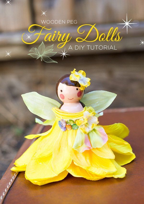 Tutorial by Amy Liu Bissett on creating these adorable DIY wooden fairy dolls as decor for a dreamy woodland fairy party!