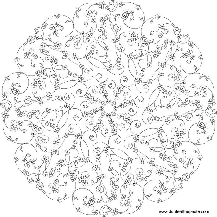 Forget Me Not Mandala To Color Available In JPG And Transparent PNG