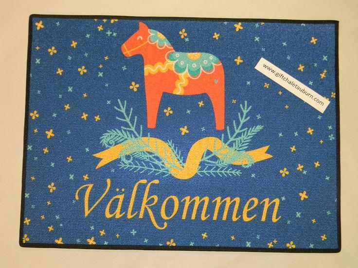 Scandinavian Swedish Dala Horse Valkommen Welcome Door Mat Rug  #Scandinavian