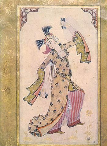 Court Dance In The Ottoman Empire: Dancing Girl, miniature by Abdulcelil Levni ca.1710-20, Topkapi Palace Museum.