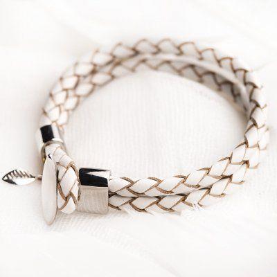 White leather bracelet #1079 > RRP $AUD39.60 | PALAS Jewellery