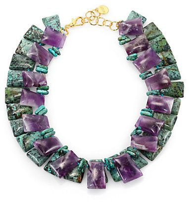 Nest Turquoise & Amethyst Double-Strand Collar Necklace