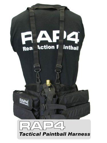 Paintball Harness (Black) - paintball harness by Rap4. $30.92. NEW Tactical Paintball Harness. This new harness is an addition to the successful RAP4 line of paintball vests. The Tactical Paintball Harness holds additional paintballs and an air tank with the light weight and durability that you expect from Real Action Paintball soft goods. The paintball harness can be used as a standalone system as well as in conjunction with a RAP4 vest. As a standalone system the ne...