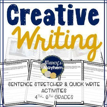 Students love to creative write! Use this presentation to get the creative juices flowing and have fun doing it! I use the sentence stretchers to have students practice elaborating a sentence. Print off the slides and have students elaborate by adding adjectives, adverbs, verbs, prepositional phrases, proper and regular nouns.