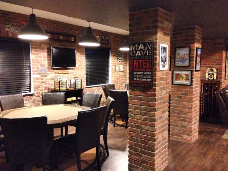 after the diy brick veneer in the man cave transforms the