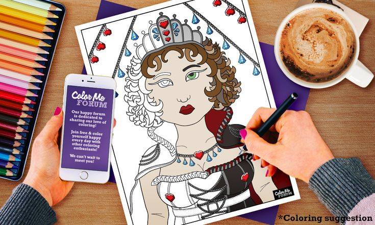 New Coloring Page: Hearts and Diamonds - Color Me Announcements - Color Me Forum
