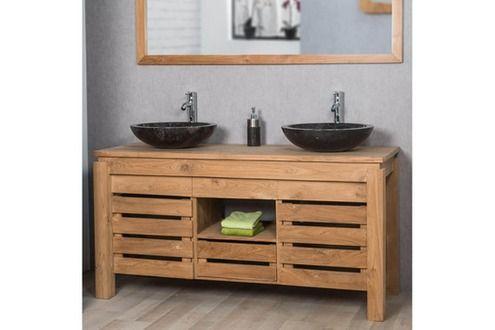 Meuble salle de bain Wanda Collection Meuble de salle de bain en teck ZEN double vasque 145cm