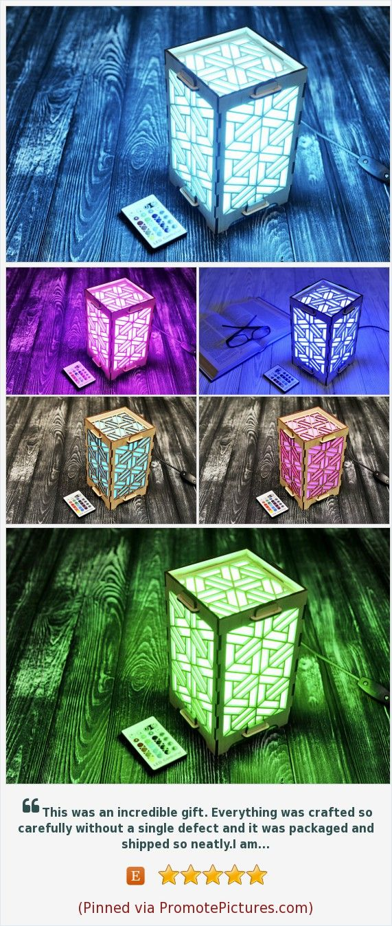 Grandmother Gift Geometric Wooden Lamp Modern For Mom Wood Ideas College Student Room Light Decor Glow In The Dark Distance Presents