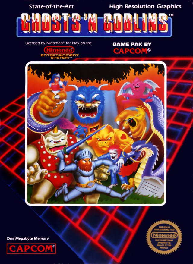 "Box art for the Nintendo Entertainment System version of Capcom's ""Ghosts & Goblins,"" released in 1986."