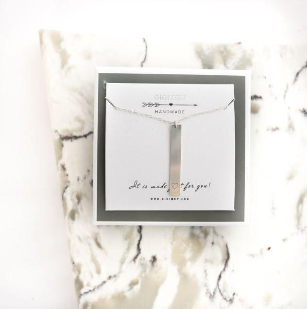 Vertical bar sterling silver engraved necklace