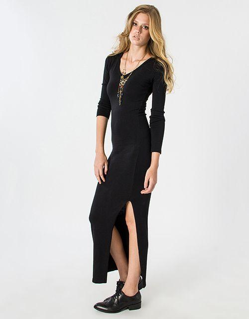 Μακρυμάνικο μάξι πλεκτό φόρεμα με σκίσιμο στο πλάι