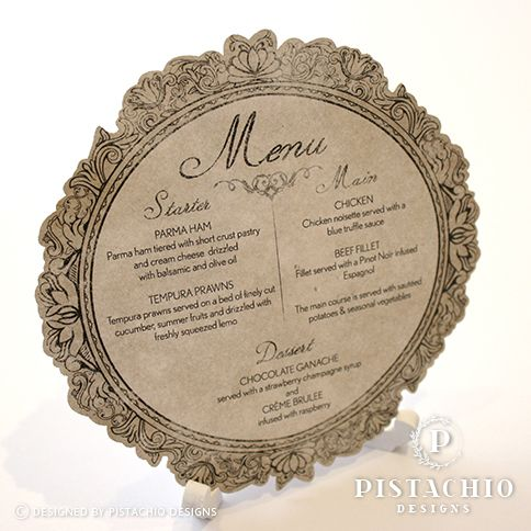 Rustic menu with laser cut edge by www.pistachiodesigns.co.za