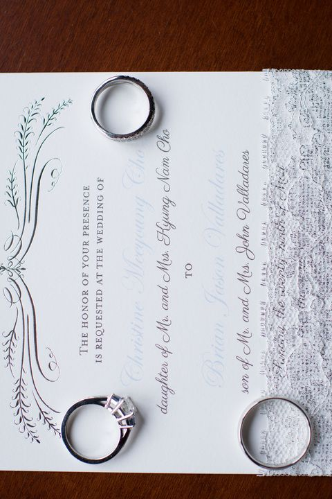 The elegant wedding invitations for the wedding of Christine and Brian Valladeres at the Mount Vernon Country Club in Alexandria, Virginia.