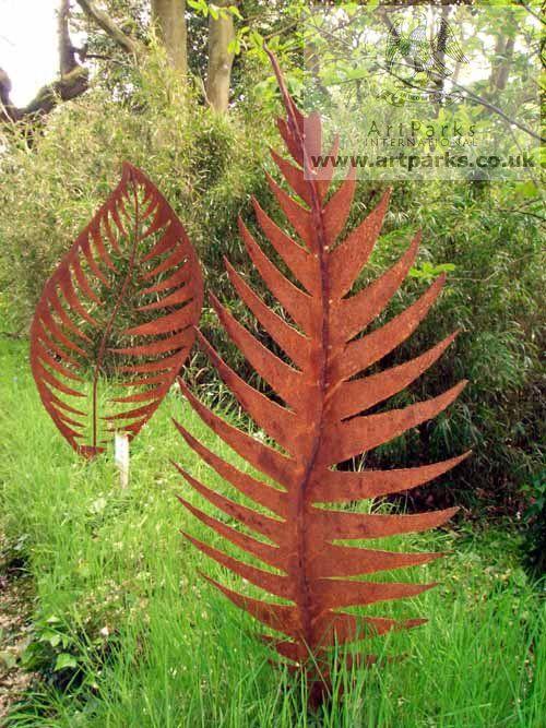 sculpture leaf form i large metal rowan leaf sculpture by sculptor peter m clarke in garden sculptures garden sculpture for sale artparks sculpture