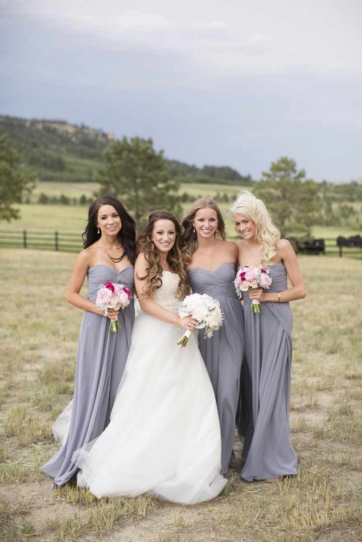 639 best bejewelled bridesmaids images on pinterest marriage grey strapless floor length bridesmaid dresses ombrellifo Gallery