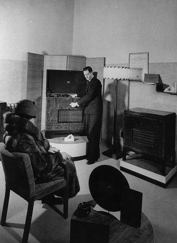 HMV Oxford Street - customer listening to a record, 1930s