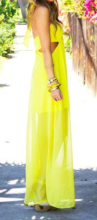 Neon maxi outcut dress. love.