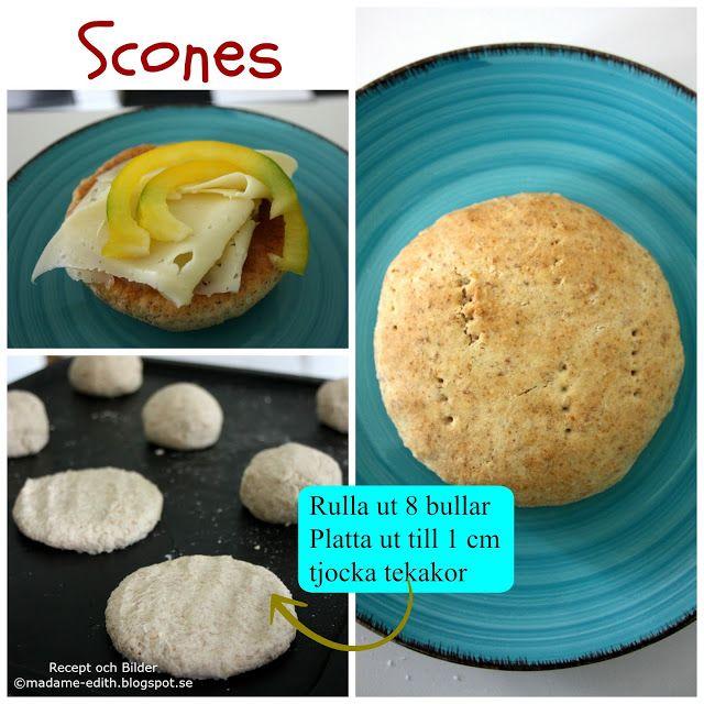 Scones som är gräddade som portionsbitar (8 st) Dessa scones är en variant av bakpulverbröd som blir som tekakor Recept 5 dl vete...