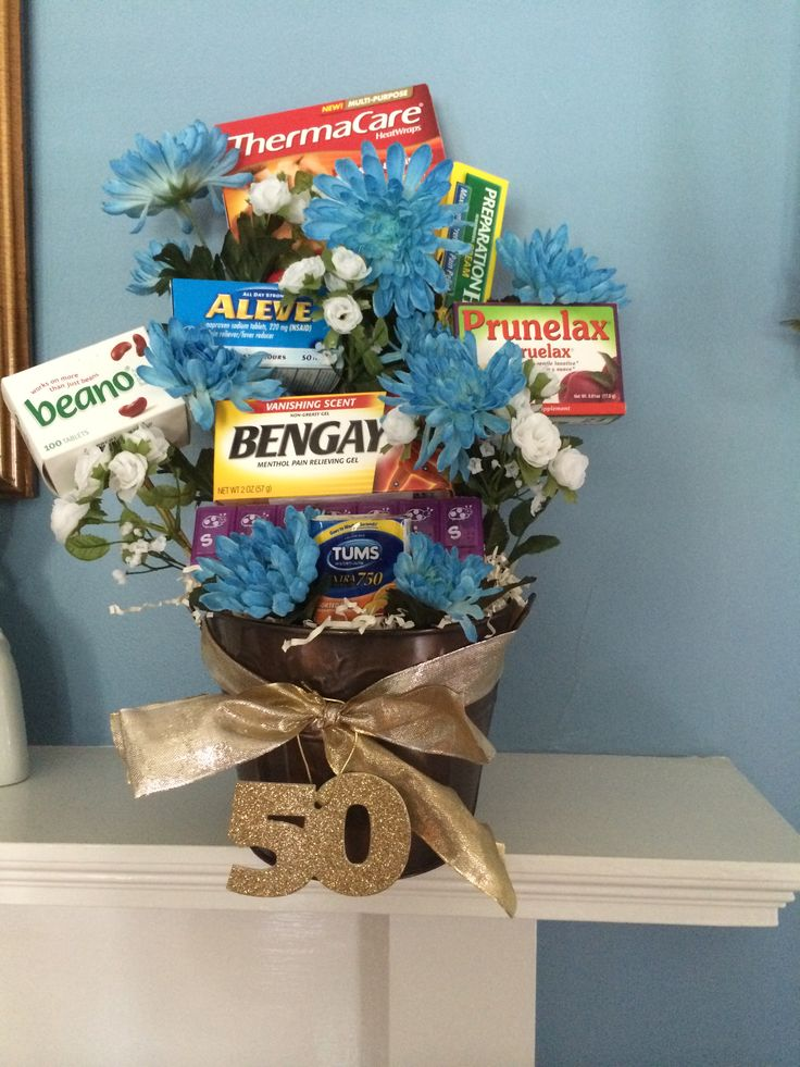Over the Hill gag gift basket. Great for a 50th birthday!