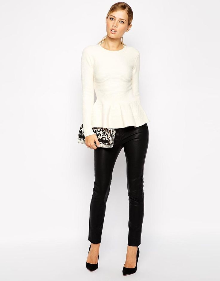 Ted Baker | Ted Baker Ribbed Sweater with Peplum at ASOS