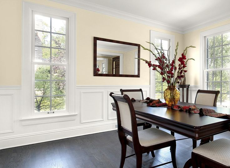 Dining room in elegant ivory cream paint colors - Ivory painted living room furniture ...