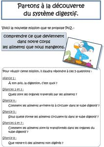 La digestion - fichier de missions, sur La classe des gnomes