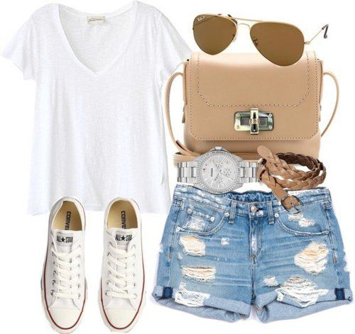 Casual style with denim shorts, white T-shirt and Converse sneakers.