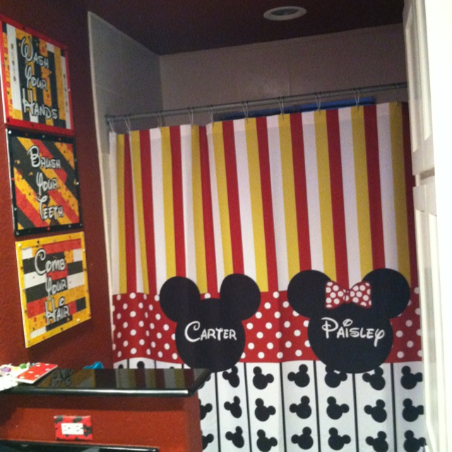 The Kids Have Their Own Bathrooms In The New House But I Am Loving This For  The Jack U0026 Jill Bath! Mickey And Minnie Bathroom!