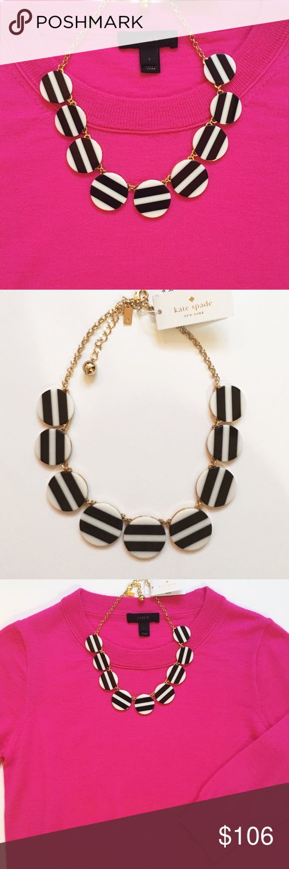Kate Spade Black and White Stripe Necklace Kate Spade Black and White Stripe Necklace with Gold 14k plates gold hardware. Adjustable lobster claw. New with tags! kate spade Jewelry Necklaces