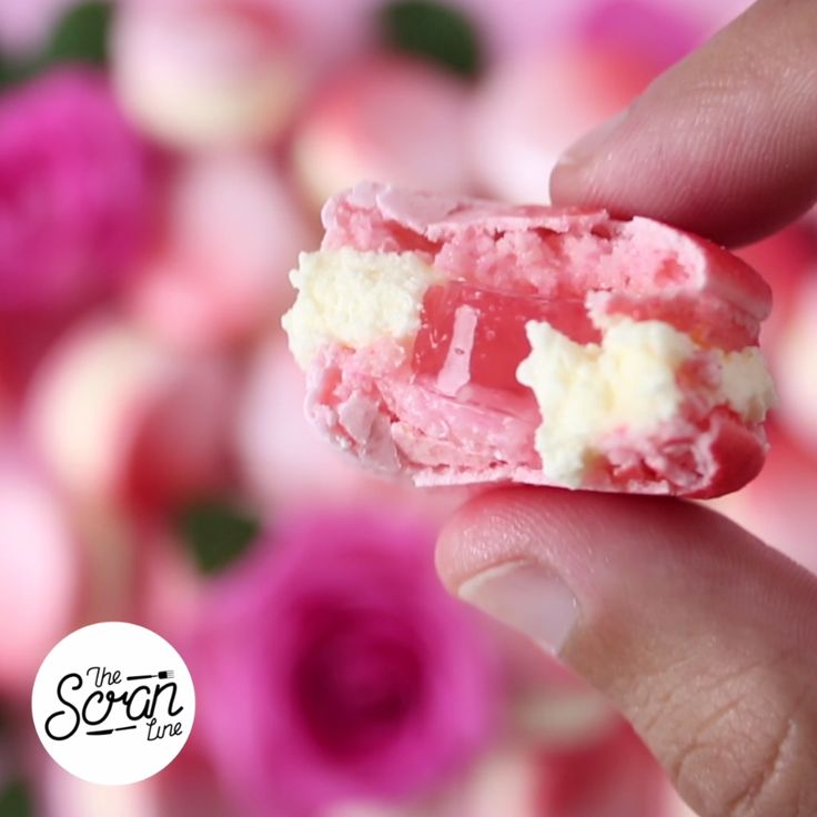 Dress up your macarons with rose buttercream and a Champagne jelly center!