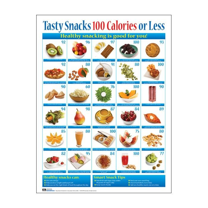 Tasty Snacks 100 Calories or Less Chart Snacks Pinterest - food calorie chart