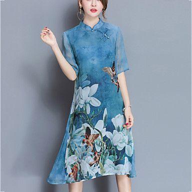 Fodero Vestito Da donna-Casual Moda città Fantasia floreale Colletto alla coreana Al ginocchio Mezze maniche Blu Viola Seta PrimaveraA – EUR € 21.16