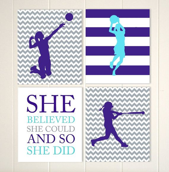 Volleyball girl, basketball girl, softball, sports art for girls, girl inspirational quote, girls room decor, choose your sports and color by PicabooArtStudio