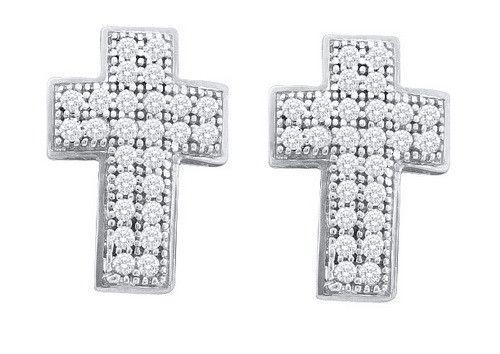 1/6CTW-Diamond CROSS EARRINGS