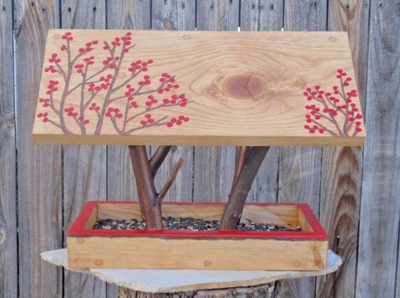 Persnickety Bird Feeder in Twigs and Winter Red Berries built with Reclaimed Wood and Branches on Etsy, $35.00