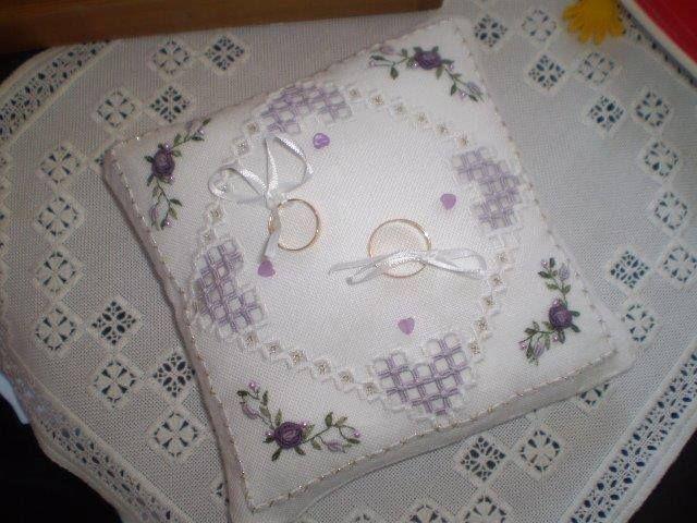 Hardanger Embroidery Wedding Ring Bearer Pillow.