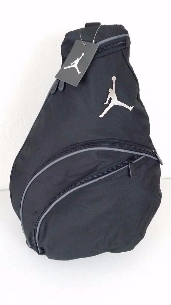 NWT NIKE JORDAN Jumpman Sling Backpack Black Gray Accents Gym BookBag 9A1134 804 Nike
