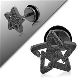 Falešný piercing - hvězdička PFA00223 v krásné černé třpytivé barvě. http://www.piercingate.cz/falesny-piercing-hvezdicka-pfa00223