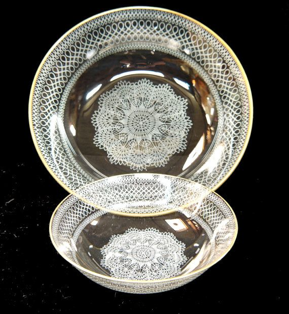 Chance Glass Dessert Set Large Bowl and 8 Small Bowls by Yonks, $76.00