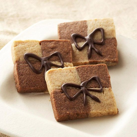 "These Peanut Butter and Mocha Checkerboards are ""wrapped"" with a chocolate bow. More decadent Christmas cookies: http://www.bhg.com/christmas/cookies/christmas-cookies/?socsrc=bhgpin101712pbmochacheckerboards#page=6"