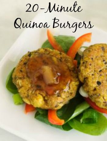 Vegetarian Black Bean & Quinoa Burgers: A 20-minute recipe with 11 grams of protein per patty! | via @SparkPeople #food #recipe #healthy #dinner