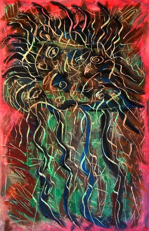 """""""Medusa mutante"""" 2012 Tecnica mista su cartoncino 58x38 ©Pietro Gragano"""
