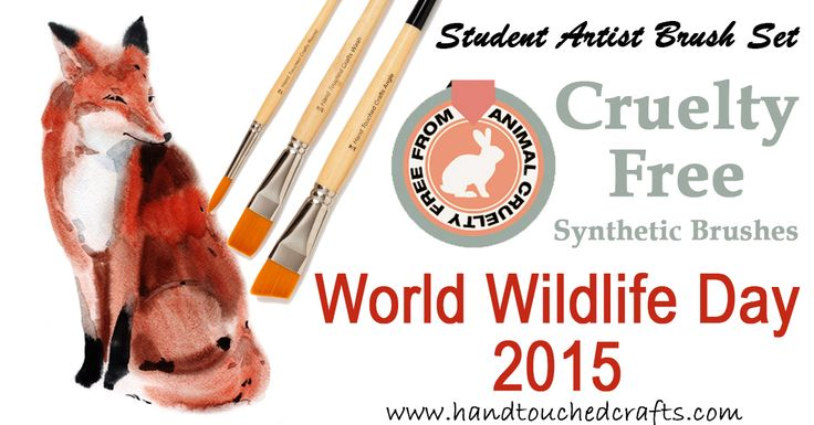 Hand Touched Crafts are celebrating World #Wildlife #Day this year with a 50% off their #cruelty #free Student #Artist #Paintbrush Set because good art does not have to cost the life of an #endangered #animal. Shop now on Amazon - http://superurl5.com/4654ebe5bb93cad