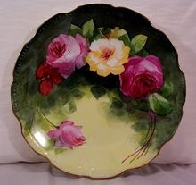 Vintage Limoges Plate Plaque Decorated with Hand Painted Roses