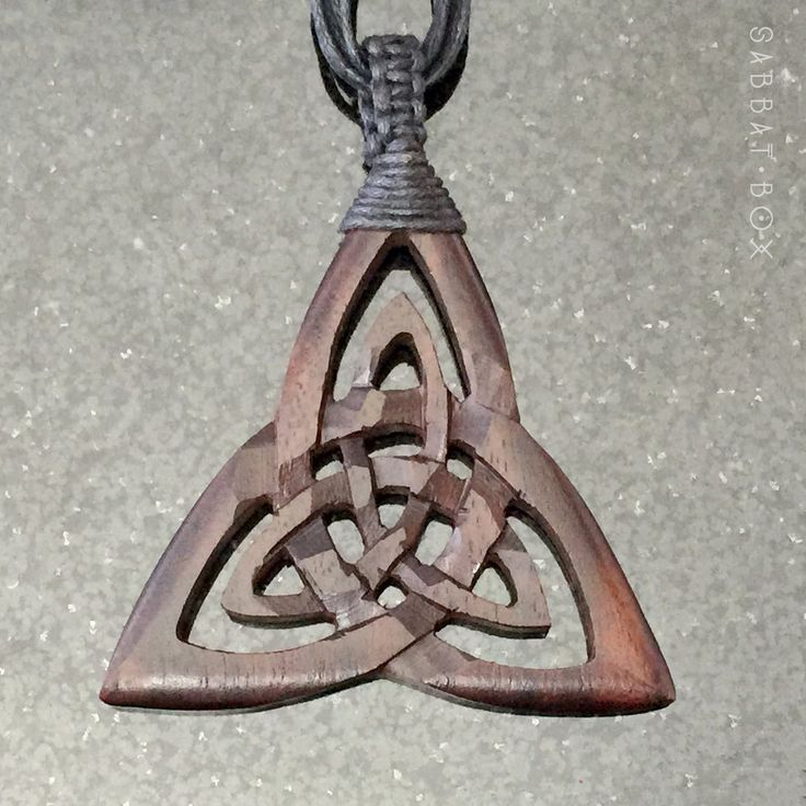 Triquetra Hand Carved Wood Necklace