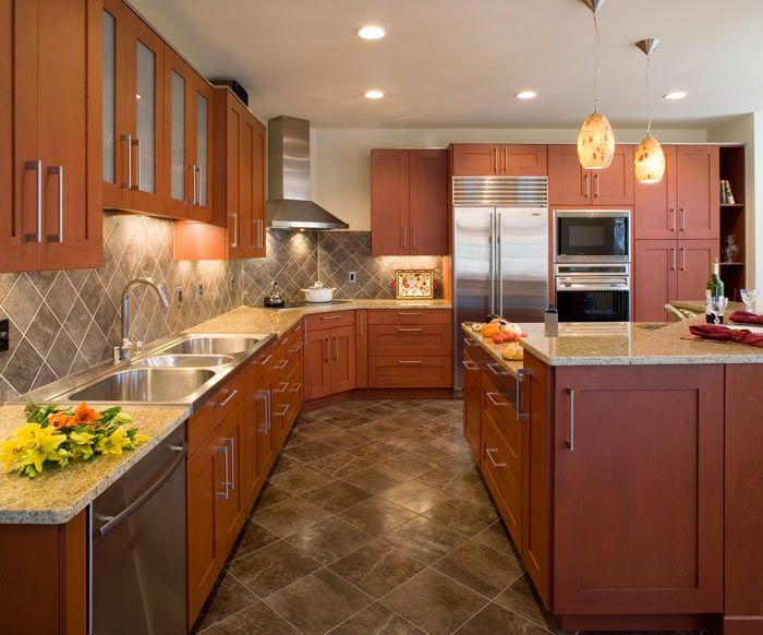 Nice Contemporary Kitchen | Medium Wood Cabinets | Kenwood Kitchens In Columbia,  Maryland