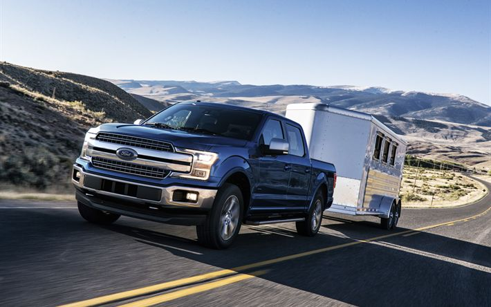 Download wallpapers Ford F-150, 2018, 4k, pickup, car travel, trailer, new cars, blue F-150, American cars, Ford